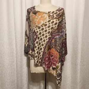 Super cute hippy chic gold shimmer Chico's poncho